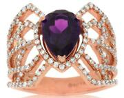 2.09ct Diamond And Aaa Amethyst 14kt Rose Gold Pear Shape Open Filigree Fun Ring