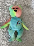 Ty Beanie Baby Peace Bear No. 102 With Tri-color Face And Rare Tag