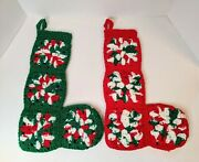 2 Vintage Christmas Stockings Crocheted Handmade Hand Crafted Granny Squares 14