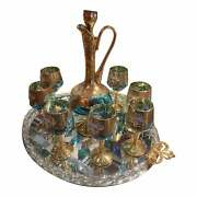 Late 20th Century Italian Murano Glass Hand Painted 24kt Decanter Goblets Set
