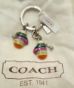 Nwt Coach 93167 Legacy Stripe Multi Mittens Charm Pave Crystal Keychain Ring