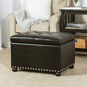 Rectangular Storage Ottoman Pu Leather Upholstery Button-tufted Top Safety Hinge