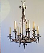 Chandelier Iron Hanging Lamp Light 22-1/2 Brutalist Tudor Gothic Arts And Crafts