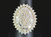 7500 14k Yellow Gold Round Baguette Diamond Marquise Shape Cocktail Ring Band