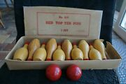 Vtg Wooden Red Top Ten Pins W/2 Balls Bowling Game In Box, No.217 Mfg Vermont