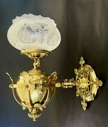 Rare Antique Brass Medieval Style Gas Sconce Converted To Electric