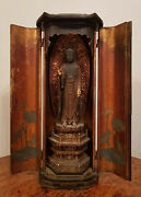 Antique 1700and039s Japanese Miniature Temple Wooden Carved Buddha
