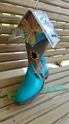 Turquoise Justin Cowboy Boot Birdhouse Texas License Plate Roof Handpainted