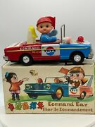 Vintage Tin B/o Command Car Police Me804 Mystery Action China 11 Works Perfect