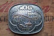 Gist Sterling Silver Overlay Ncha Super Stakes Cowboy Western Trophy Belt Buckle