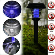 Solar Powered Outdoor Mosquito Fly Bugs Insect Zapper Killer Trap Led Lamp Light