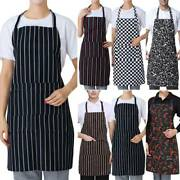Men Women Adjustable Bib Cook Kitchen Restaurant Chef Dress With Pocket Durable