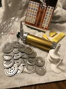 Marcato Atlas Vintage Biscuits Cookie Press 4 Tips And 20 Discs. Made In Italy.