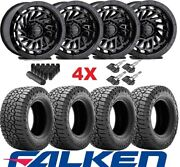 Trd Gloss Black Wheels Rims Tires 265 70 17 Falken Wildpeak A/t3w Set Centerline