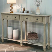 Antique Sofa Table Console Table W/2 Storage Drawers Shelf Living Room Entryway