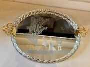 1940s Ercole Barovier Murano Glass Etched Mirror Serving Tray