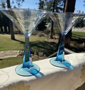 Pair Of Sapphire Cocktail Martini Glasses Twisted Blue Stem Art Deco Style. Used