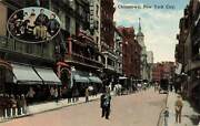 Busy Street Scene Chinatown Nyc People Shops Ny Vintage C1910 P193