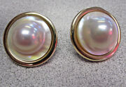 High Quality Heavy Duty Large Blister Pearl Earrings In 14k Gold No Reserve