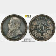 1892 South Africa 6 Pence. Pcgs Proof 61. Km-4