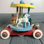 Vintage Brio Wood Carousel Karusell Merry-go-round Pull Toy Bell