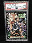 1992 Stadium Club Beam Team Members Only Shaquille Oand039neal Rookie 21 Psa 9