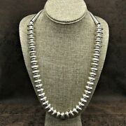 Navajo Sterling Silver Saucer Bead Necklace
