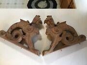 Antique Victorian Carved Mahogany Chimera Griffin Corbels Architectural Salvage
