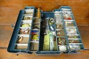 Vintage J.c. Higgins Tackle Box Loaded W/ 4 Fold Out Trays - Fishing Lures