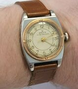1940and039s Rolex Speed King Stainless Steel Rose Gold Bezel With Box Serviced Works