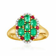 Ross-simons Emerald Diamond And Ruby Ring In 14kt Gold