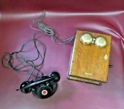 Antique Western Electric Hand Crank Wall Mount Oak Case And Table Top Telephone