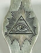 Vintage Victorian Sterling Silver Masonic Watch Fob Holder All Seeing Eye Rare