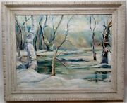 Vintage Oil Painting Winter Wooded Scene By Gracia