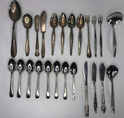 Lot Of 24 Vintage Antique Silverplate And Stainless Silverware