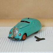 1930s–1940s Schuco Kommando Anno 2000 Teal Wind-up Car With Key. Made In Germa