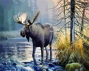 Forest Nature Moose Elk Deer Animal Paint By Numbers Canvas Wall Art Painting