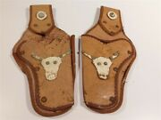 2 Vintage 1950's Childs Tooled Leather Cap Gun Holsters 9325