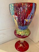 Vintage Murano Ruby Red Glass Hand Painted Vase By Onestoand039s