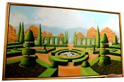 Large Oil Landscape Painting Of Topiary Garden And Fountain, Signed And Framed