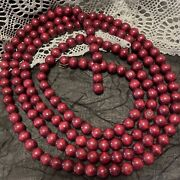 Vintage Christmas Tree Garland Red Wood Cranberry Bead Primitive Country 106andrdquo