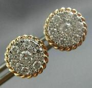 Estate .62ct Diamond 14k White And Rose Gold 3d Classic Cluster Rope Stud Earrings