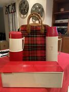 Thermos Vintage 1950and039s Picnic Lunch Set Bag Box Cup Red Plaid Bag