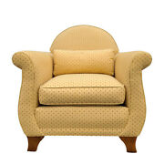 21st Century Ethan Allen Contemporary Gold And Red Ansonia Lounge Chair