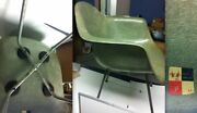 Eames Seafoam Green Rope Edge Chair Checkerboard Label 1st Gen Shell And X-base