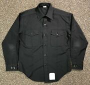 Vintage Us Navy Black Button Down Shirt Mens Used Poly/wool Blend Anchor Buttons