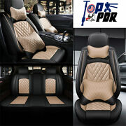 Universal Full Surround Front And Rear Seat Cover Cushions Black And Beige Car Parts