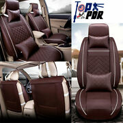5-sit Car Seat Covers Pu Leather Front Rear Auto W/neck Lumbar Pillow Universal