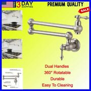 Pot Filler Double Faucet Kitchen Sink Stainless Steel Commercial Wall Mount Bras