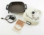 General Electric Skillet Dutch Buffet Dome Vintage Ge Wheat Lid 1970's + Manual